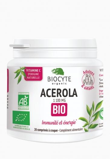 Acerola Bio 1100 mg Biocyte Comprimés contribuant à l'immunité et l'énergie