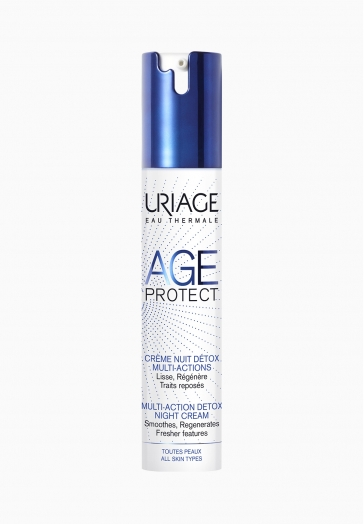 Age Protect Crème Nuit Détox Multi-Actions Uriage Lisse, régénère et traits Reposés