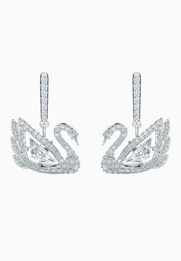 Boucles d'oreilles Dancing Swan Swarovski Blanc, Métal Rhodié