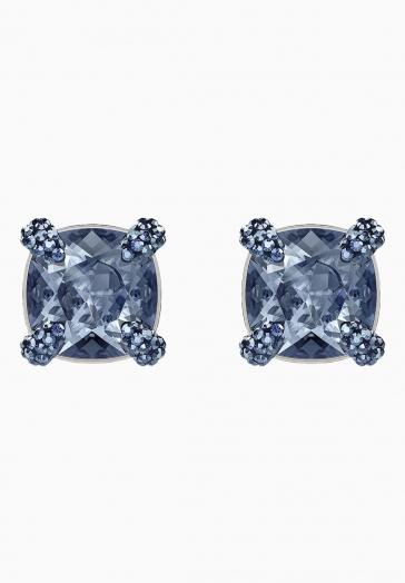 Boucles d'oreilles Make Up Swarovski Bleu, Métal Rhodié