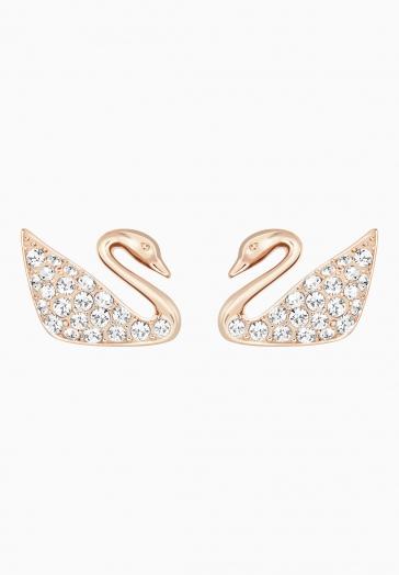 Boucles d'oreilles Swan Swarovski Blanc, Métal Doré Rose