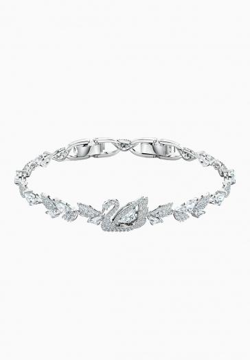 Bracelet Dancing Swan Swarovski Blanc, Métal rhodié