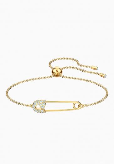 Bracelet Épingle Swarovski Blanc, Métal doré