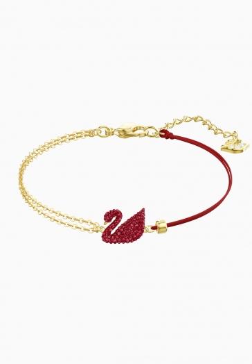 Bracelet Iconic Swan Rouge Swarovski Rouge, Métal doré