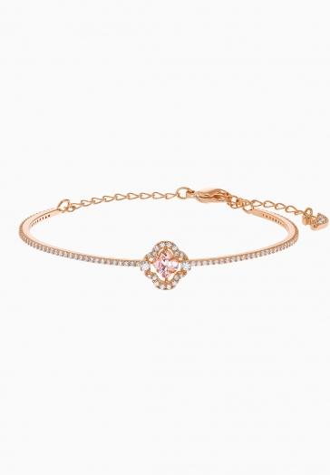 Bracelet-jonc Swarovski Sparkling Dance Clover Swarovski Rose, Métal doré rose