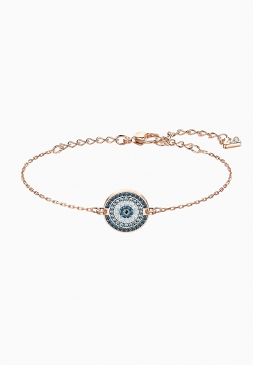 Bracelet Luckily Swarovski Bleu, Métal Doré Rose