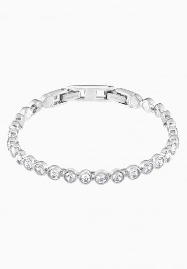 Bracelet Tennis Swarovski Blanc, Métal rhodié
