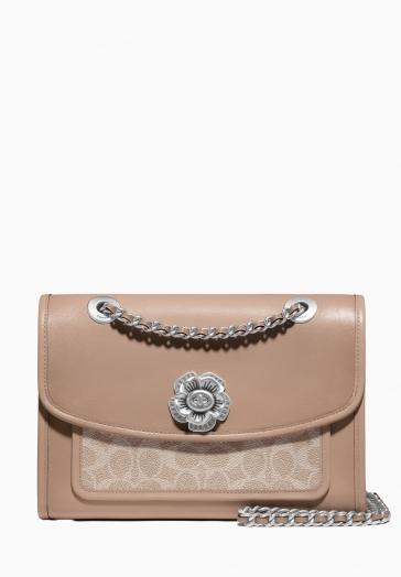 Coated Signature Soft Parker Shoulder Bag Coach Pochette avec fermoir en fleur et bandouilère