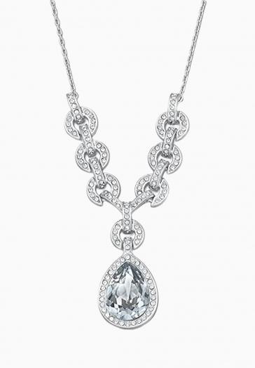 Collier Crystal Adore Swarovski Blanc, Métal Rhodié