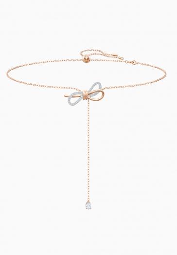 Collier en Y Lifelong Bow Swarovski Blanc, Finition mix de métal