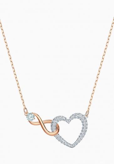 Collier Swarovski Infinity Heart Swarovski Blanc, Finition mix de métal