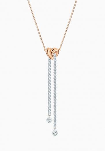 Collier en Y Lifelong Heart Swarovski Blanc, Finition mix de métal