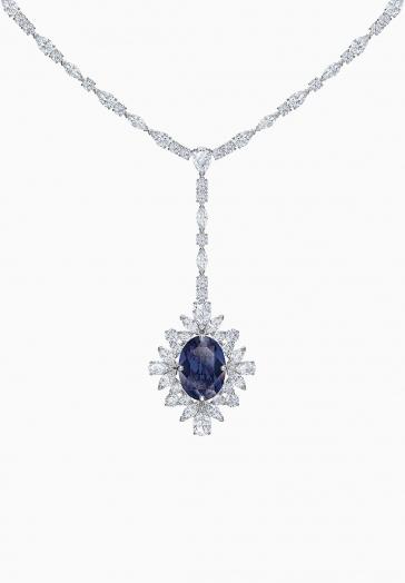 Collier en Y Palace Swarovski Bleu, Métal rhodié