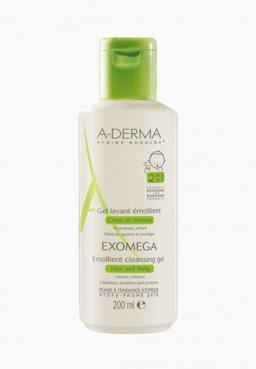 Exomega A-Derma Gel Lavant Emollient 2 en 1 - Corps et Cheveux