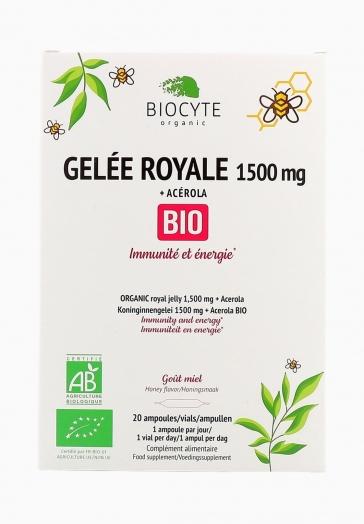 Gelée Royale 1500 mg Bio Biocyte Ampoules apportant Immunité & énergie