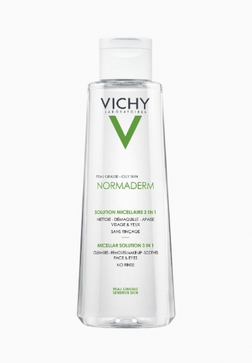Normaderm Solution Micellaire 3 en 1 Vichy Démaquillant et nettoyant peau grasse