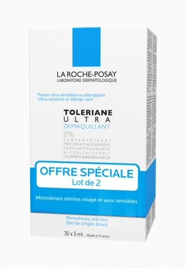 Toleriane Ultra Démaquillant La Roche Posay Lot de 2, Monodoses stériles 30 x 5ml