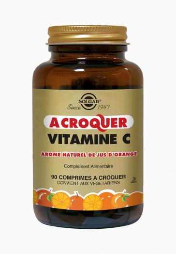 Vitamine C 500 mg à croquer Solgar Arôme naturel de jus d'orange