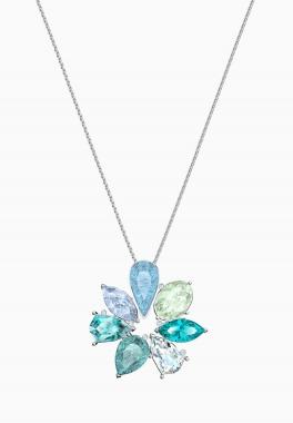 Pendentif Sunny Flower - Swarovski - Multicolore clair, Métal rhodié