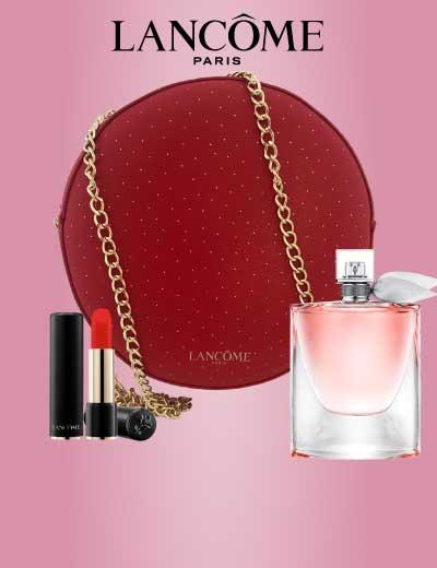 Visuel de l'offre Lancôme : un sac en cuir rouge offert